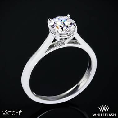 18k White Gold Vatche U-100 Traditional Round Solitaire Engagement Ring