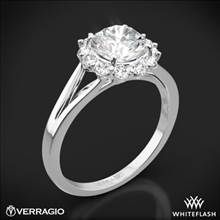 18k White Gold Verragio ENG-0356 Split Shank Halo Solitaire Engagement Ring | Whiteflash