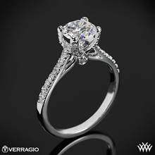 18k White Gold Verragio ENG-0371 4 Prong Petite Pave Diamond Engagement Ring | Whiteflash