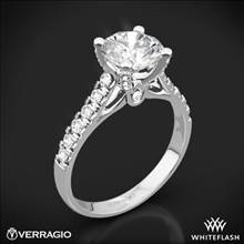 18k White Gold Verragio ENG-0375 4 Prong Pave Diamond Engagement Ring | Whiteflash