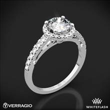 18k White Gold Verragio ENG-0386 Bead-Set Halo Diamond Engagement Ring | Whiteflash