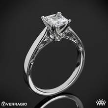 18k White Gold Verragio ENG-0409P 4 Prong Princess Solitaire Engagement Ring | Whiteflash