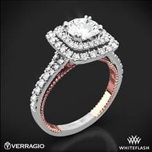 18k White Gold Verragio ENG-0425CU-2T Couture Diamond Halo Engagement Ring | Whiteflash