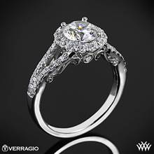 18k White Gold Verragio INS-7010R Split Shank Halo Diamond Engagement Ring | Whiteflash