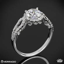 18k White Gold Verragio INS-7042R 4 Prong Round Halo Diamond Engagement Ring | Whiteflash