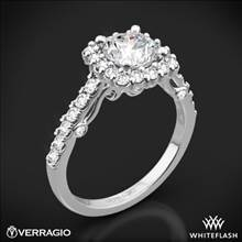 18k White Gold Verragio INS-7047 Cushion Halo Diamond Engagement Ring | Whiteflash