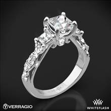 18k White Gold Verragio INS-7055P Twisted Shank Princess 3 Stone Engagement Ring | Whiteflash