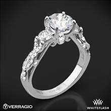 18k White Gold Verragio INS-7055R Twisted Shank 3 Stone Engagement Ring | Whiteflash