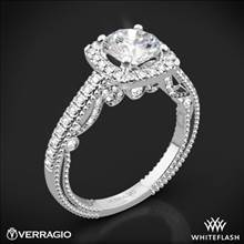 18k White Gold Verragio INS-7061CU Beaded Halo Diamond Engagement Ring | Whiteflash