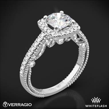 18k White Gold Verragio INS-7061CU Beaded Halo Diamond Engagement Ring