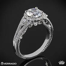 18k White Gold Verragio INS-7068R Domed Bead-Set Diamond Engagement Ring | Whiteflash