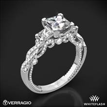 18k White Gold Verragio INS-7074P Beaded Braid Princess 3 Stone Engagement Ring | Whiteflash