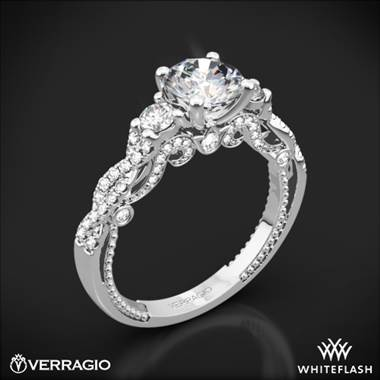 18k White Gold Verragio INS-7074R Braided 3 Stone Engagement Ring