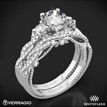18k White Gold Verragio INS-7074R Braided 3 Stone Wedding Set | Whiteflash