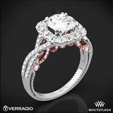 18k White Gold Verragio Insignia INS-7086CU Two-Tone Halo Diamond Engagement Ring | Whiteflash