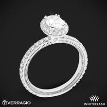 18k White Gold Verragio Tradition TR150HOV Diamond Oval Halo Engagement Ring | Whiteflash