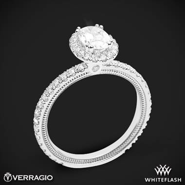 18k White Gold Verragio Tradition TR150HOV Diamond Oval Halo Engagement Ring