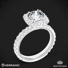 18k White Gold Verragio Tradition TR210HCU Diamond Cushion Halo Engagement Ring | Whiteflash