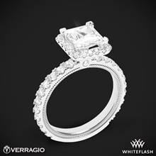 18k White Gold Verragio Tradition TR210HP Diamond Princess Halo Engagement Ring | Whiteflash