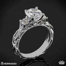 18k White Gold Verragio Venetian Lace AFN-5013R-4 Three Stone Engagement Ring | Whiteflash