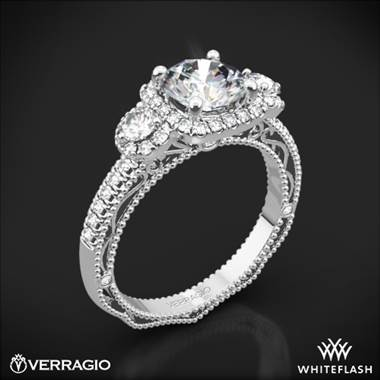 18k White Gold Verragio Venetian Lace AFN-5025CU-4 Three Stone Engagement Ring