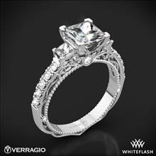 18k White Gold Verragio Venetian Lace AFN-5058P-4 Three Stone Engagement Ring for Princess | Whiteflash