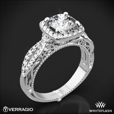 18k White Gold Verragio Venetian Lido AFN-5005CU-2 Cushion Halo Diamond Engagement Ring