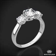 18k White Gold W-Prong 3 Stone Engagement Ring (0.50ctw ACA side stones included) | Whiteflash