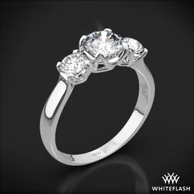 18k White Gold W-Prong 3 Stone Engagement Ring (Setting Only)