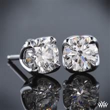 "18k White Gold ""W-Prong"" Diamond Earrings - Settings Only   Whiteflash"