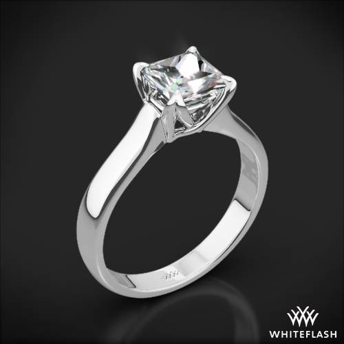 18k White Gold W-Prong Solitaire Engagement Ring for Princess