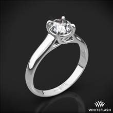 18k White Gold X-Prong Trellis Solitaire Engagement Ring | Whiteflash
