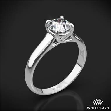 18k White Gold X-Prong Trellis Solitaire Engagement Ring