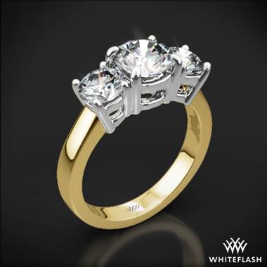 18k Yellow Gold 3 Stone Engagement Ring with White Gold Head (0.50ctw ACA side stones included)