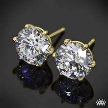 """18k Yellow Gold 6 Prong """"Martini"""" Earrings - Settings Only   Whiteflash"""