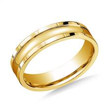 18K Yellow Gold 6mm Comfort-Fit High Polished Squared Edge Carved Design Band | B2C Jewels