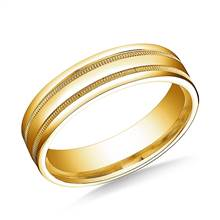 18K Yellow Gold 6mm Comfort-Fit High Polished with Milgrain Round Edge Carved Design Band | B2C Jewels