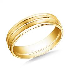 18K Yellow Gold 6mm Comfort-Fit Satin-Finished Center Trim & Round Edge Carved Design Band | B2C Jewels