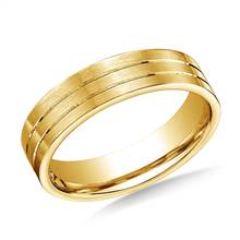 18K Yellow Gold 6mm Comfort-Fit Satin-Finished with Parallel Center Cut Carved Design Band | B2C Jewels