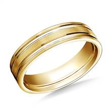 18K Yellow Gold 6mm Comfort-Fit Satin-Finished with Parallel Grooves Carved Design Band | B2C Jewels