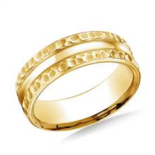 18K Yellow Gold 7.5mm Comfort Fit Hammered Finish Center Cut Design Band | B2C Jewels