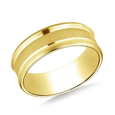 18K Yellow Gold 7.5mm Comfort Fit Satin Finish Center Reverse Beveled Edge Design Band