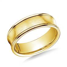 18K Yellow Gold 7.5mm Comfort-Fit Satin-Finished Concave Round Edge Carved Design Band | B2C Jewels