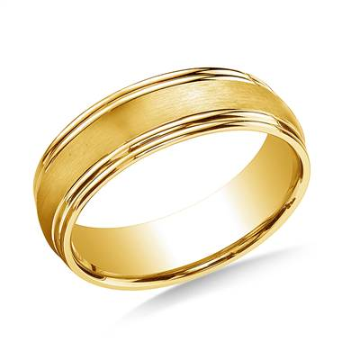 18K Yellow Gold 7.5mm Comfort-Fit Satin-Finished Double Round Edge Carved Design Band