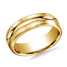 18K Yellow Gold 7.5mm Comfort-Fit Satin-Finished High Polished Center Cut Carved Band | B2C Jewels