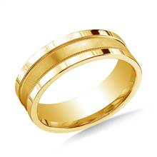 18K Yellow Gold 8mm Comfort-Fit Satin- Center Milgrain and Squared Edge Carved Design Band | B2C Jewels