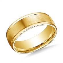 18K Yellow Gold 8mm Comfort-Fit Satin-Finished High Polished Round Edge Carved Design Band | B2C Jewels