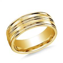 18K Yellow Gold 8mm ComfortFit Satin-Finished Cntr Trim and Round Edge Carved Design Band | B2C Jewels