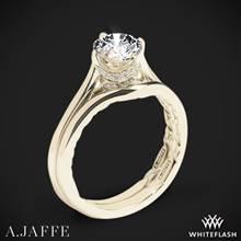 18k Yellow Gold A. Jaffe ME1846Q Art Deco Solitaire Wedding Set | Whiteflash