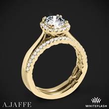 18k Yellow Gold A. Jaffe ME2053Q Halo Diamond Wedding Set | Whiteflash